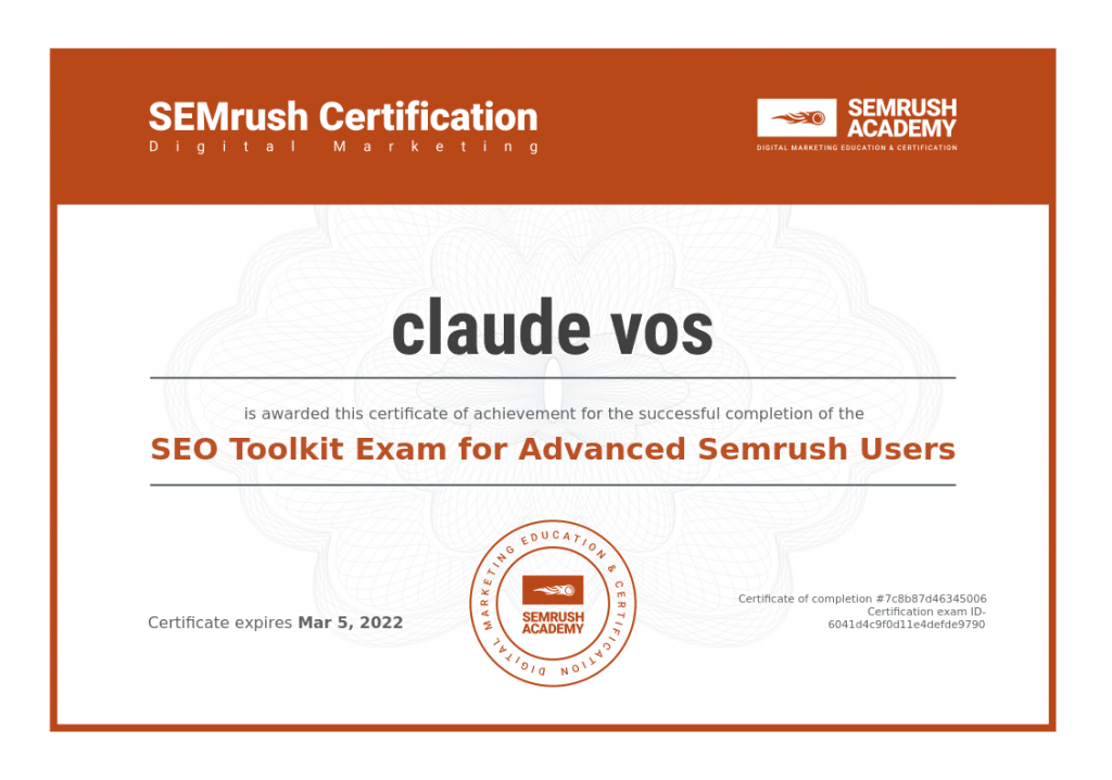 SEMRush certification